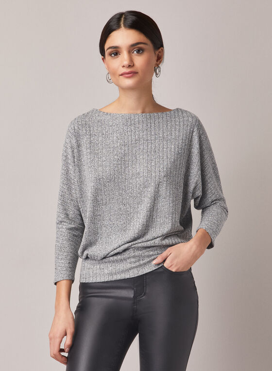 Boat Neck Rib Knit Top, Grey