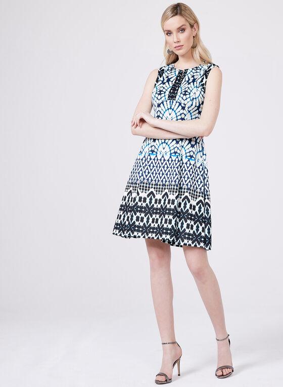 Maggy London - Robe ajustée et évasée motif abstrait, Bleu, hi-res