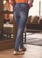 Zipper Detail Slim Leg Jeans, Blue