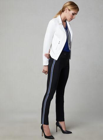 Pantalon contrastant à jambe étroite, Noir, hi-res,  pull-on, printemps 2019, bengaline