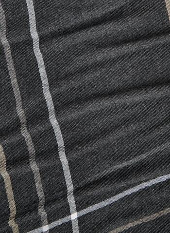 Foulard oblong à lignes , Noir, hi-res