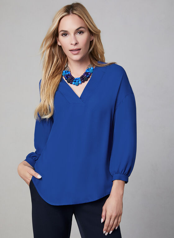¾ Sleeve Crepe Blouse, Blue, hi-res