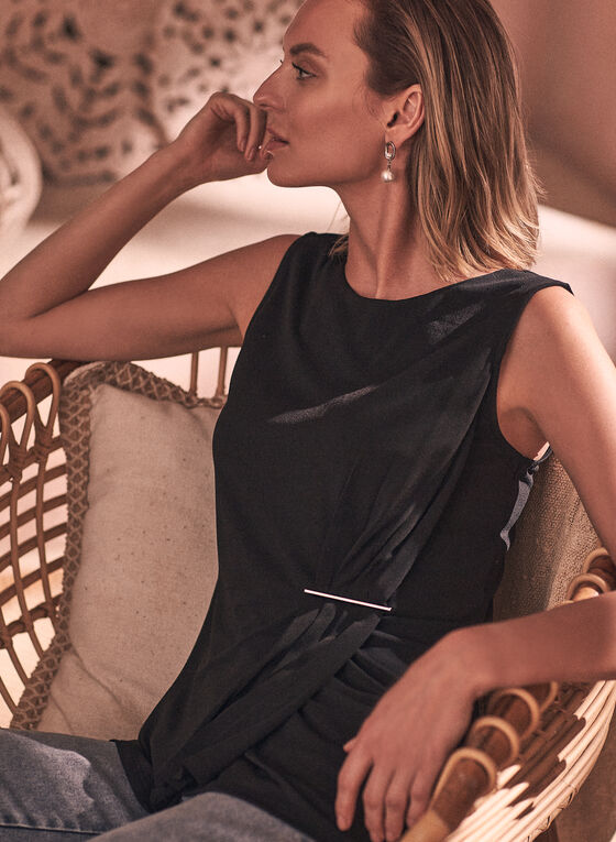 Sleeveless Pleated Detail Top, Black