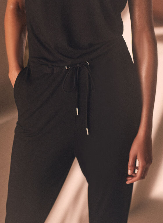 Drawstring Detail Knit Jumpsuit, Black