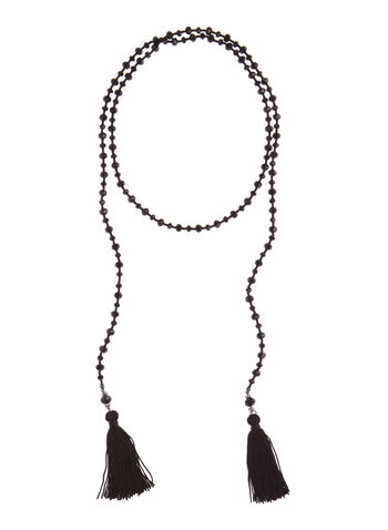 Collier avec perles facettées et pompons, Noir, hi-res