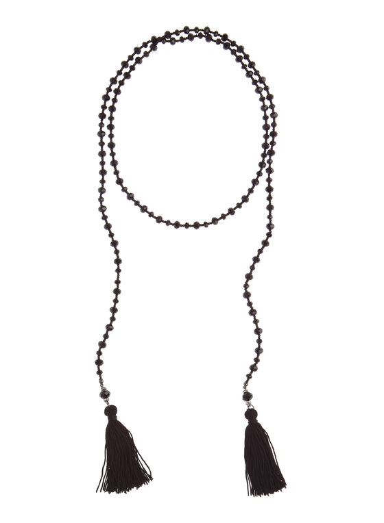 Tasseled Lariat Necklace, Black, hi-res