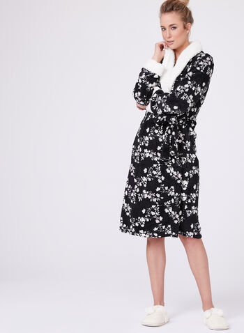 Floral Print Dressing Gown, Black, hi-res