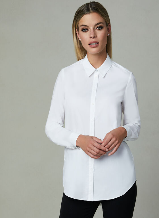 Long Sleeve Poplin Shirt, White, hi-res