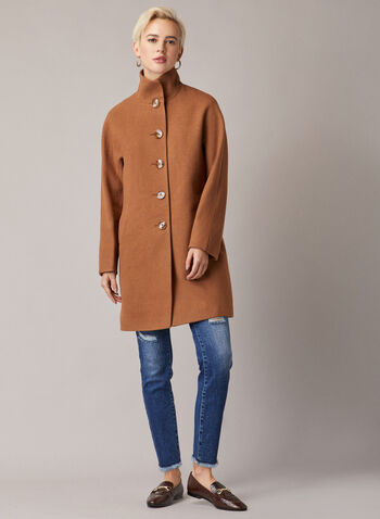 High Collar Wool Blend Coat, Brown,  coat, high neck, wool blend, button front, pockets, lined, long sleeves, fall winter 2020