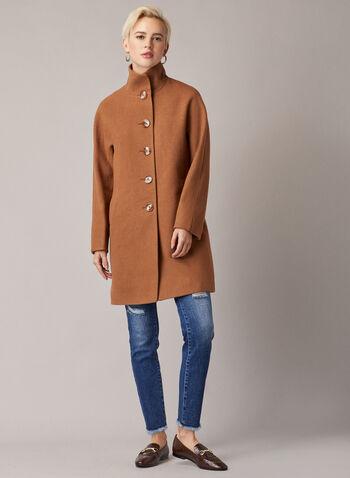 Manteau boutonné à col montant, Brun,  manteau, bouton, laine, poches, col montant, automne hiver 2020