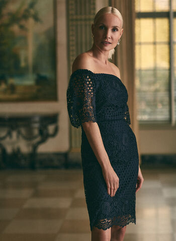 Joseph Ribkoff - Off-the-Shoulder Lace Dress, Blue,  dress, occasion, cocktail, lace, off the shoulder, ribkoff, lyman, made in Canada, spring summer 2021