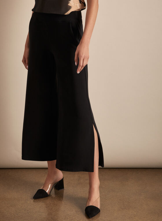 Pull-On Slit Pants, Black