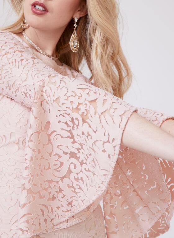 BA Nites – Scroll Burnout Print Dress, Pink, hi-res