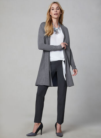 Shawl Collar Knit Cardigan, Grey,  Fall 2019, winter 2019, long sleeves, cardigan, knit