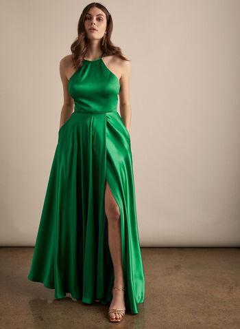 Robe satinée à dos croisé, Vert,  robe de bal, satin, sans manches, col licou, poches, dos croisé, lacé, printemps été 2020