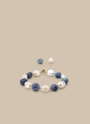 Semi-Precious Stone Bracelet, Blue,  bracelet, semi-precious stones, adjustable, golden, spring summer 2020