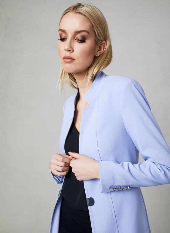 Notch Collar Redingote Jacket, Blue, hi-res