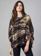 Compli K - Feather Print Poncho Blouse, Black