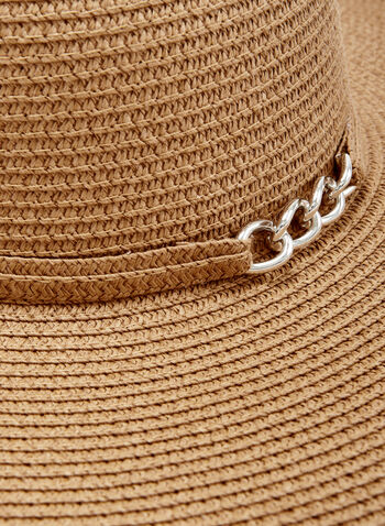 Large Straw Hat With Chain Detail, Brown, hi-res