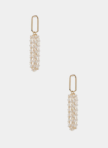 Pearl Fringe Dangle Earrings, Gold, hi-res