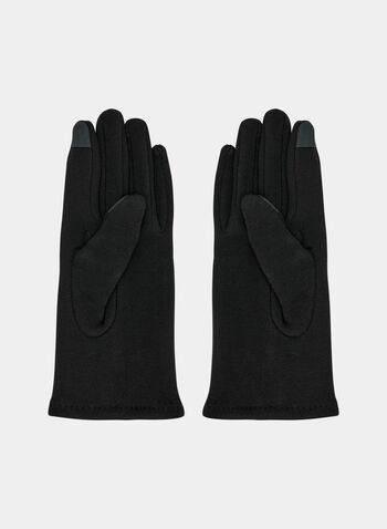 Studded Knit Gloves, Black, hi-res