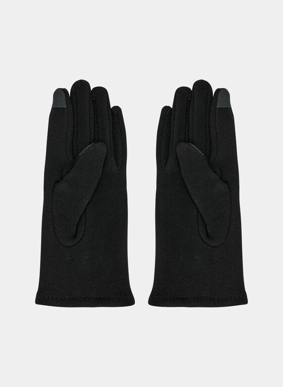 Studded Knit Gloves, Black, hi-res