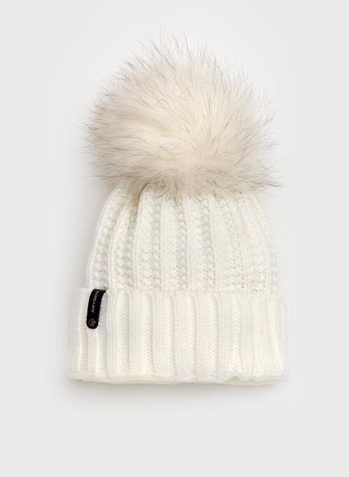 Tuque tricot avec pompon en fourrure, Blanc, hi-res