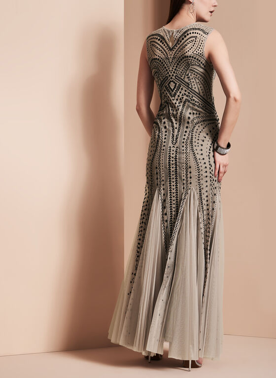 Extended Sleeve Beaded Mesh Gown , Black, hi-res