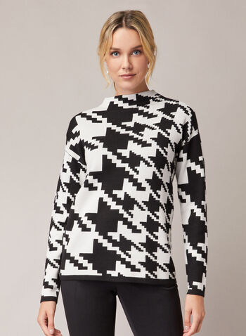 Houndstooth Print Mock Neck Sweater, Black,  sweater, mock neck, long sleeves, houndstooth, knit, fall winter 2020