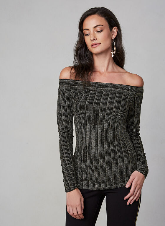 Metallic Off-the-Shoulder Top, Black, hi-res