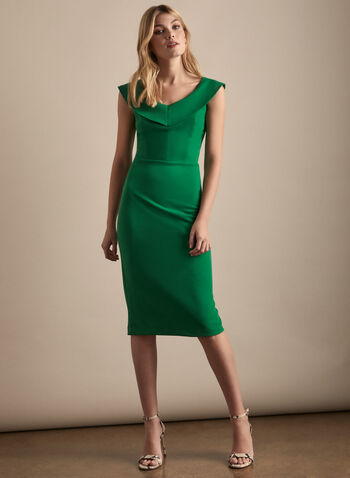 V-Neck Cocktail Dress, Green,  dress, cocktail, evening, crepe, stretchy, v-neck, sleeveless, sheath, spring summer 2020