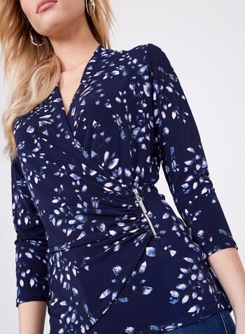 Petal Print ¾ Sleeve Blouse , Blue, hi-res