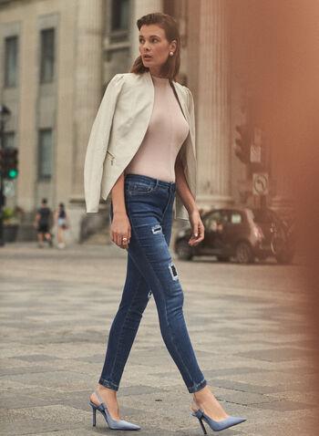 Jean à jambe étroite à déchirures et sequins, Bleu,  pantalons, bas, jeans, taille mi-haute, jambe étroite, bouton, glissière, poches, rivets métalliques, détails, déchirures, sequins, denim extensible, automne hiver 2021