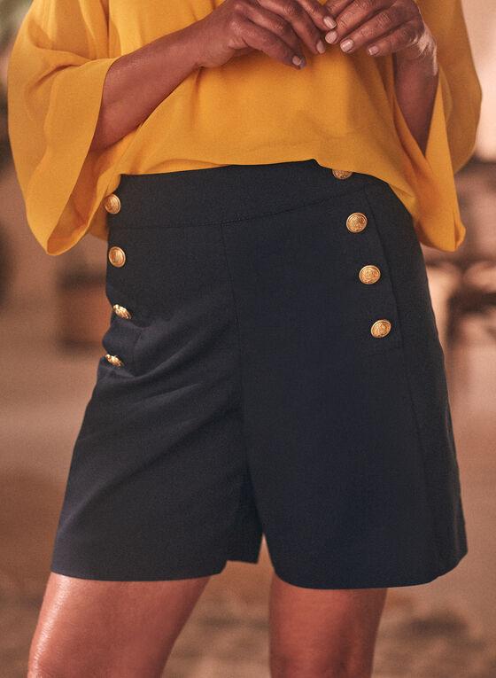 Cotton Blend Button Detail Shorts, Blue