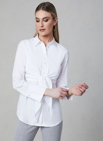Frank Lyman - Tie Detail Button-Up Blouse, White, hi-res