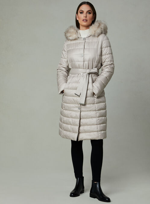 Kenneth Cole - Long Quilted Coat, Off White, hi-res