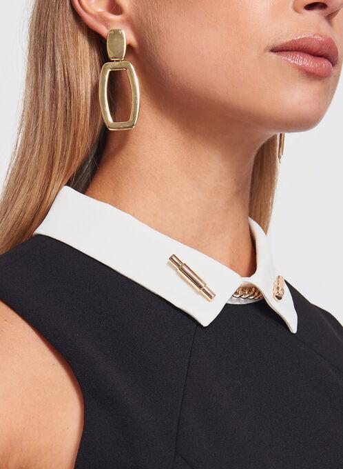 Ivanka Trump - Pointed Collar Trapeze Dress, Black, hi-res