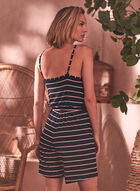 Stripe Print Romper, Black