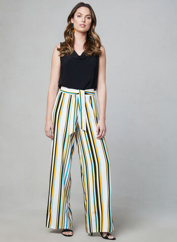Emma & Michele - Stripe Print Jumpsuit, Black, hi-res,  jumpsuit, sleeveless, stripe print, wide leg, spring 2019, summer 2019