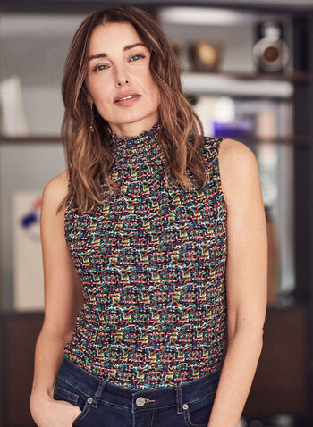 Tweed Print Sleeveless Top, Multi,  top, sleeveless, tweed, multicolour, smocked neck, keyhole, spring summer 2021