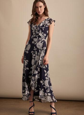 Maggy London - Robe fleurie à détails volantés, Bleu,  robe de jour, fleurs, mousseline, volants, mancherons, ourlet tulipe, printemps été 2020