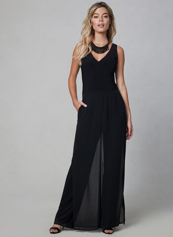 Sleeveless Chiffon Panel Overlay Jumpsuit, Black, hi-res