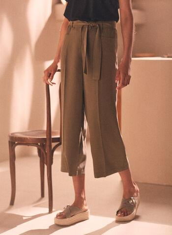 Pantalon gaucho en tencel, Vert,  pantalon, gaucho, tencel, poches, printemps été 2020