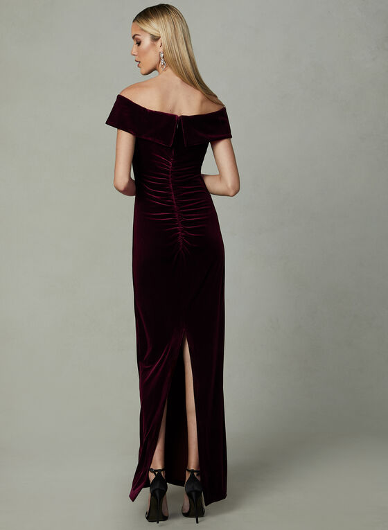 BA Nites - Robe longue en velours, Violet