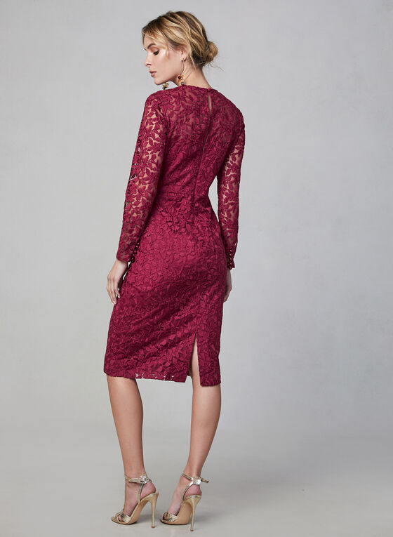 Maggy London - Long Sleeve Lace Dress, Red