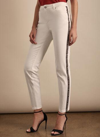 Jeans à bandes latérales motif aztèque, Blanc,  jeans, jambe étroite, poches, denim, aztèque, printemps été 2020