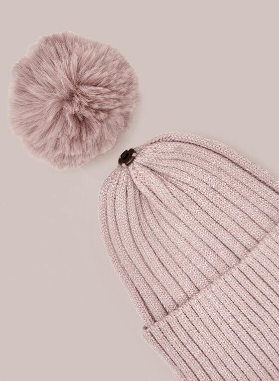 Tuque en tricot texturé à pompon amovible, Rose