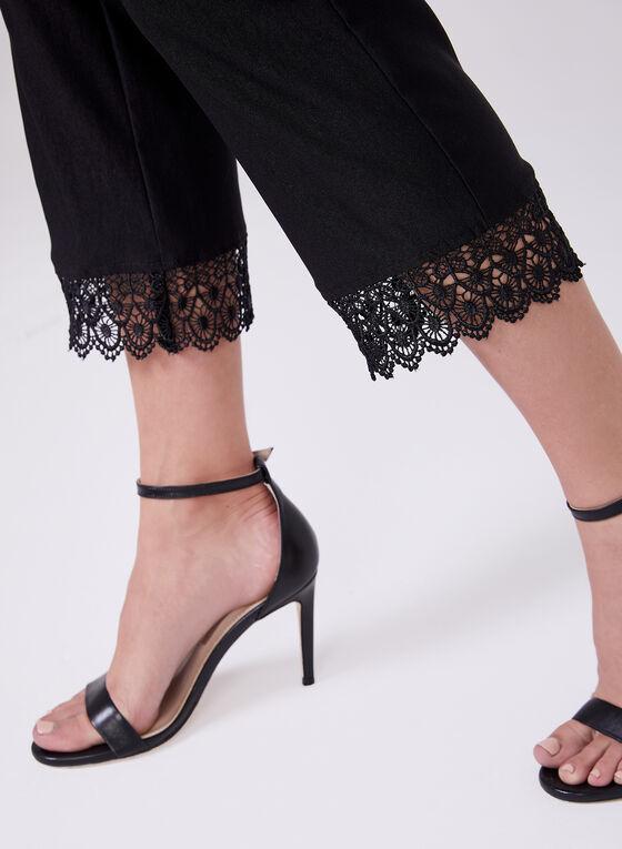 Lace Hem Capri Pants, Black, hi-res