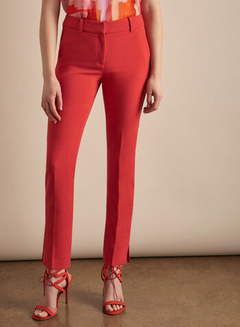 Giselle Slim Leg Pants, Orange,  pants, giselle, slim leg, ankle, high rise, pleats, pockets, spring summer 2020