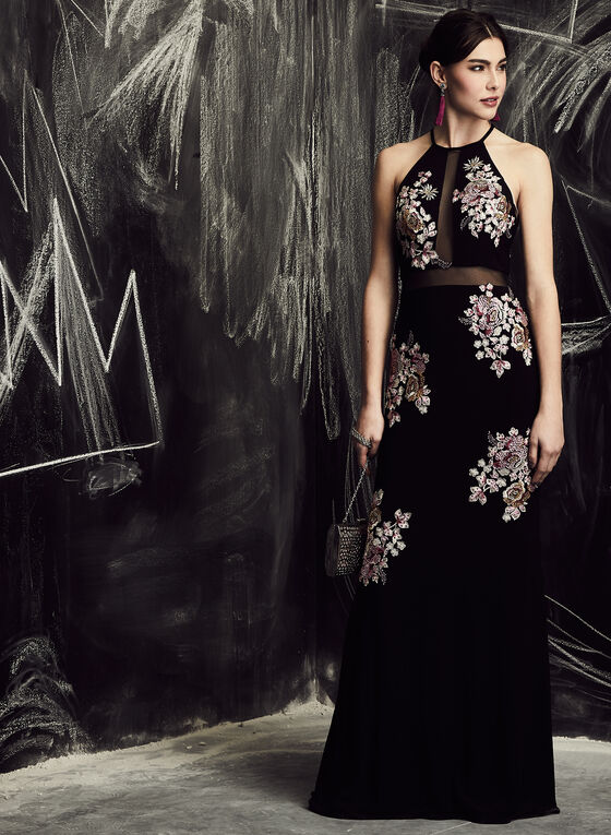 BA Nites - Floral Embroidered Mesh Dress, Black